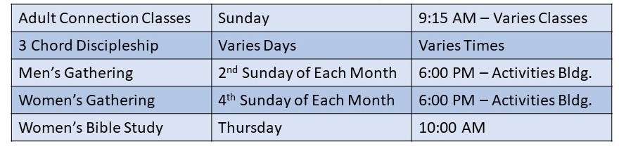 adult ministry schedule